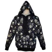 Pierced Tattooed Skulls In Sunglasses Hoodie